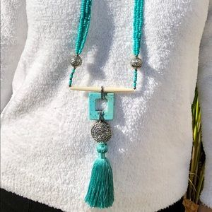 Boho Turquoise Beaded Long Necklace